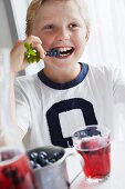 A boy eating fresh blueberries