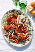 Blue swimmer crabs with champagne sauce