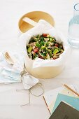 A salad of tabbouleh with chicken