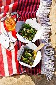 Salad of sugar snap peas, avocado and watercress