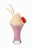 A strawberry shake with cream