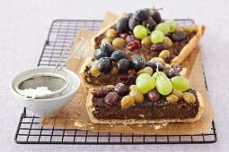 Poppy seed tart topped with grapes
