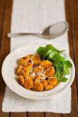 Pumpkin gnocchi with Parmesan and purslane