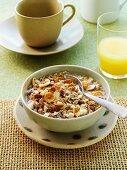 A breakfast consisting of wholemeal muesli and fresh orange juice