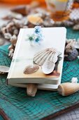 Book with flotsam used as bookmark