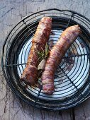 Venison roulade wrapped in bacon
