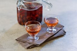 Cherry schnapps and preserved cherries