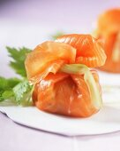 Salmon parcels filled with potatoes