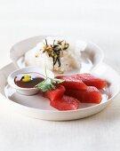 Tuna sashimi with soy sauce and rice (Japan)