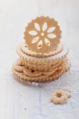 A stack of lace biscuits
