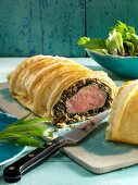 Pork fillet wrapped in ramson puff pastry