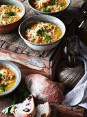Barley soup with bacon
