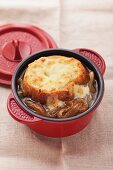French onion soup with a gratinated slice of baguette