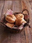 Fresh bread rolls in a basket