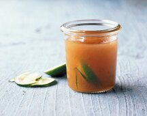 A jar of pear and lime preserve