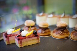 A selection of cakes in a bakery-cafe