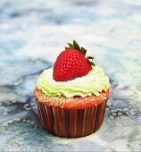 Strawberry Cupcake with Lime Frosting and a Whole Fresh Strawberry