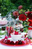 A buffet featuring sweet strawberry dishes