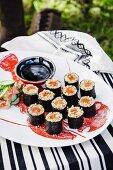 Quinoa and salmon sushi