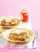 Muesli and blueberry pancakes with ricotta cheese