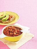 Baked beans with toast and avocado