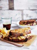 Monte Cristo sandwich with crisps