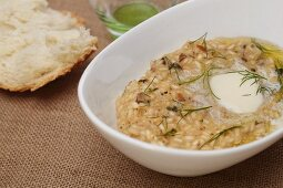 Butter Melting on Wild Mushroom and Herb Risotto; Bread