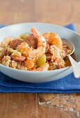 Jambalaya (Creole rice stew with prawns and sausage)