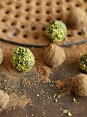 Chocolate Truffles Rolled in Cocoa Powder and Pistachios