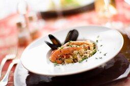 Risotto alla veneziana (seafood risotto, Italy)