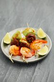 Prawn skewers with avocado and dried tomatoes