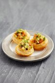 Vol-au-vents filled with salmon tartare, cucumber and dill