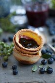 Blueberry cups with cream cheese and blueberry jam