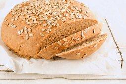 Sliced, freshly baked sunflower seed bread