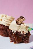 A chocolate cupcake with a liquid centre
