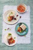 Asparagus wrap with tomato salsa