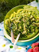 Green vegetable and pasta salad