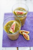 Fig and lettuce smoothies with watermelon and peach
