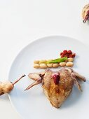 Roasted quail with beans and dried tomatoes
