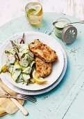 Schnitzel with courgette and radish salad