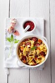 Pappardelle with salsiccia, garlic, red pepper and sage