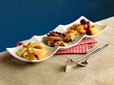 Kaiserschmarren (sweet cut up pancakes) served three different ways