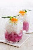 Mixed radish salad with caviar