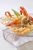 Vegetables and prawn tempura