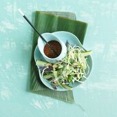 Asian cabbage salad with white and red cabbage and zucchini