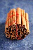 Many cinnamon sticks, bundled