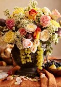 Flower Arrangement with Green Grapes