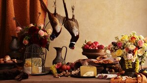 Rustic Still Life with Pheasant, Rabbit, Cheese, Fruit and Flowers