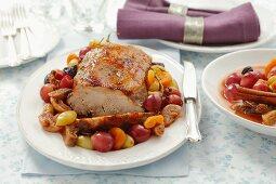 Roast pork with fruit