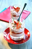Strawberry mousse with pistachios